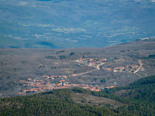 Aerial view of a mountain landscape from La Pena de Francia in La Alberca (Salamanca)