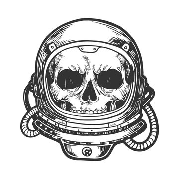 Human skull astronaut helmet sketch engraving vector illustration. Scratch board style imitation. Hand drawn image.