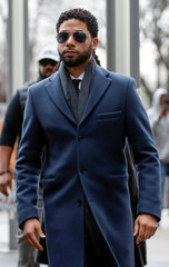 Actor Jussie Smollett arrives at the Leighton Criminal Court Building in Chicago