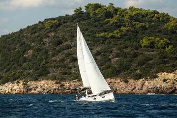 Fototapete - Greece sailing yacht boat at the Aegean Sea.