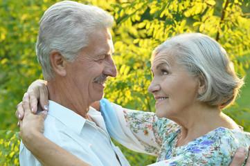 Portrait of mature couple in summer park