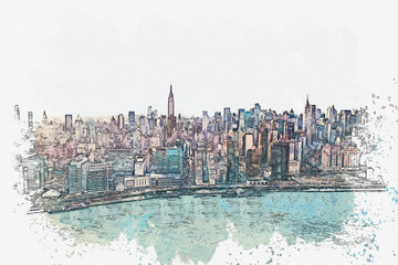 Watercolor sketch or illustration of a beautiful view of the New York City with urban skyscrapers