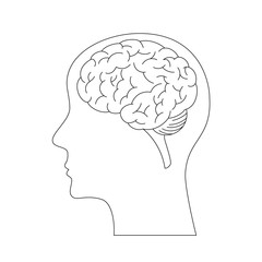Brain vector icon isolated on a white background.