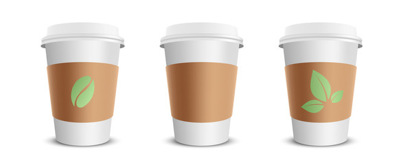 Three vector realistic blank paper coffee cups isolated on white. Vector illustration.