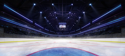 ice hockey stadium interior goalkeeper view illuminated by spotlights, hockey and skating stadium indoor 3D render illustration background, my own design