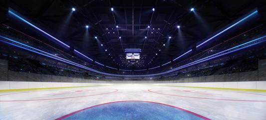 ice hockey stadium interior goalkeeper view illuminated by spotlights, hockey and skating stadium indoor 3D render illustration background, my own design Wall mural