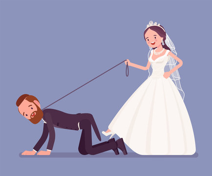 Bride holding groom on dog leash. Unhappy man oppressed by woman on traditional celebration, wife in married couple controlling. Marriage customs, traditions. Vector illustration Vector illustration