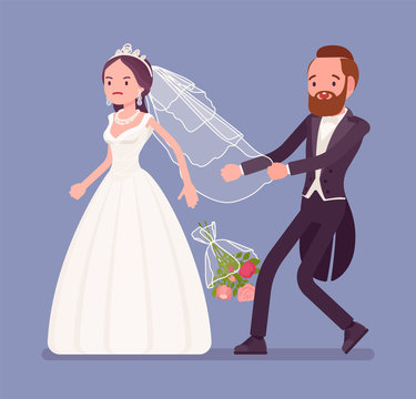 Angry bride leaving groom on wedding ceremony. Unhappy woman in a white dress going away from future husband, changing her mind, refusing to marry, break traditional celebration. Vector illustration