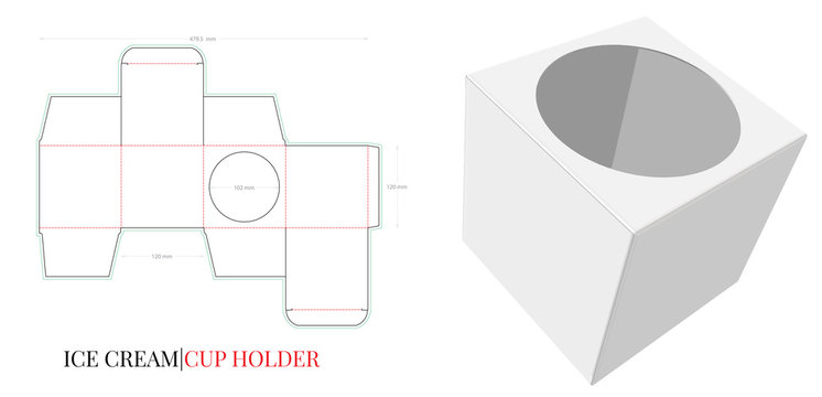 Ice Cream Cup Holder Template, with die cut / laser cut layers. Cup Holder Illustration. White, clear, blank, isolated Ice Cream Holder Pack on white background with perspective view. Packaging Design