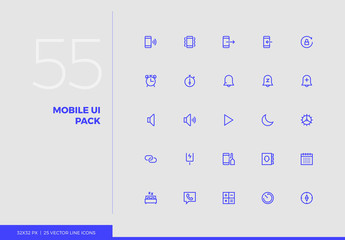 Vector Line Icons Mobile UI Pack