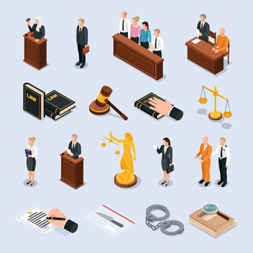 Law Justice Isometric Icons