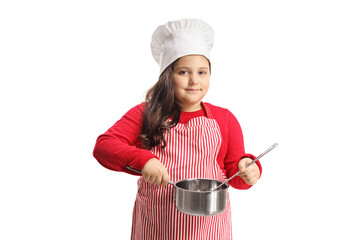 Little girl chef holding a pot and a spoon