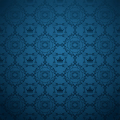 Blue royal style wallpaper for your design. Vector graphics