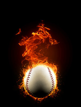 Fiery baseball ball on fire, burning in the dark