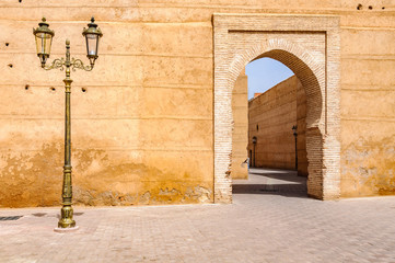 Street lamp and a gate in Marrakech, Morocco