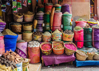 Colorful spices in a local shop in Marrakech, Morocco
