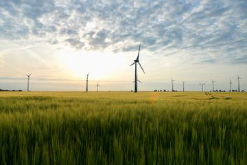grüne Energie - windpark mit Windrädern zur Stromerzeugung // renewable energies - power generation with wind turbines in a wind farm