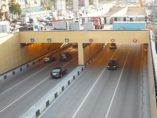 road tunnel under bridge