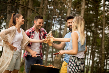 Young people enjoying barbecue party in the nature