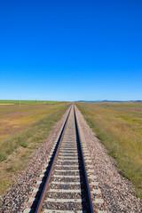 Papiers peints Voies ferrées Lonely track in the prairie
