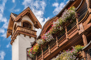 Bavarian building with colorful window boxes of flowers