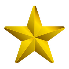 Star symbol icon - golden gradient 3d, 5 pointed rounded, isolated - vector