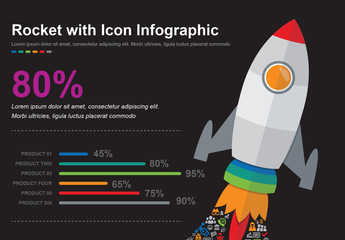 Rocket with Icons Infographic Layout