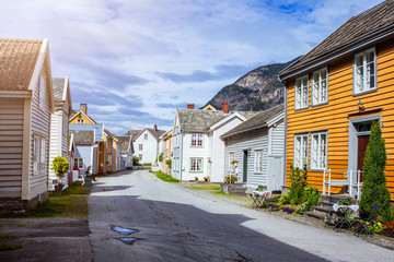 Norway. View of historical buildings. World Heritage Site