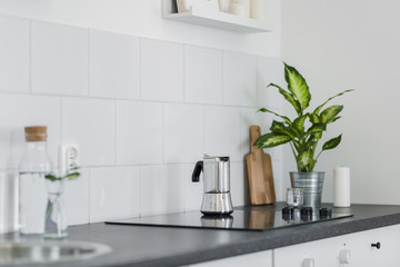 Black kitchen worktop