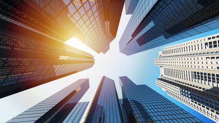 3d Rendering of corporate buildings with sunlight