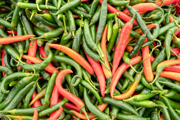 Red and green chili pepper.