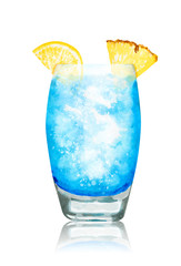 Hand drawn watercolor blue lagoon cocktailon white background