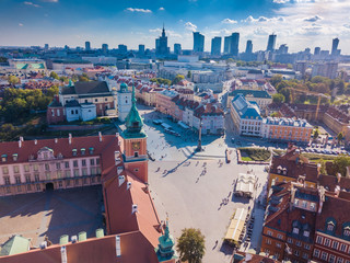 Aerial view of the old city in Warsaw. Beautiful European City. HDR - high dynamic range.