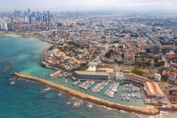Tel Aviv Jaffa Altstadt Hafen Skyline Israel Strand Stadt Meer Luftbild Hochhäuser