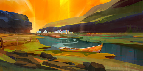 bright painted landscape with boat and houses