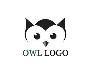Owl head bird logo vector template animal