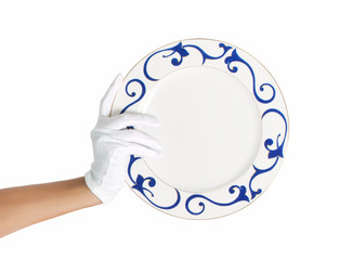 Hand in cotton glove with patern plate