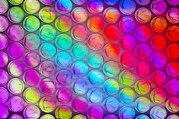 Abstract textured background of a colorful sheet of plastic bubble wrap
