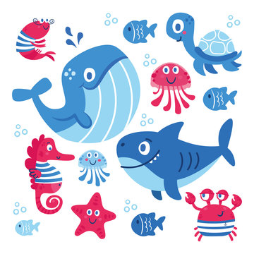 Vector set of sea animals: fish, shark, whale, jellyfish, star, seahorse, crab. turtle. Illustration for clothes, anniversary, birthday, party invitations, scrapbooking, cards and sticker