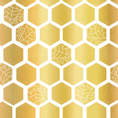 Gold foil hexagon shapes seamless vector pattern. Geometric golden hexagons background with texture. Elegant design for card, birthday party, wedding invitation, celebration, digital paper, home decor