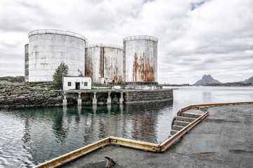 whale oil tanks in the harbour of Stamsund, northern Norway, Scandinavia