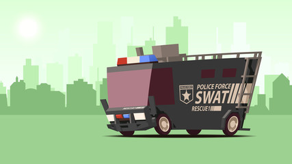 Police Van. Armored Special Forces Vehicle SWAT on City Landscape Background.