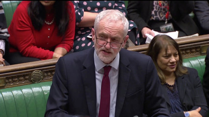 Britain's opposition Labour Party leader Jeremy Corbyn speaks in Parliament, following the vote on extending Brexit negotiating period in London