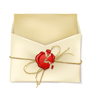 Opened paper envelope with broken red wax seal and letter or card inside 3d realistic vector illustration isolated on white background. Vintage mail message, correspondence confidentiality concept