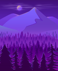 Cold and wild northern land night landscape cartoon vector in violet neon colors with full moon disk in mist under snow-cowered mountain peak or hill, spruce trees forest in fog at foot illustration