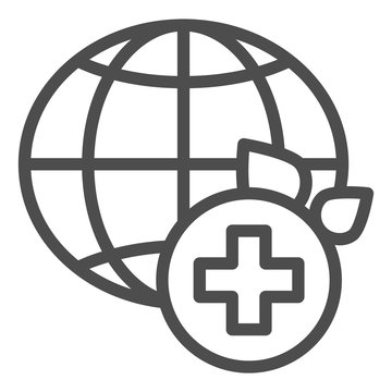 World medicine line icon. Global healthcare vector illustration isolated on white. World medical community outline style design, designed for web and app. Eps 10.