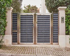 elegant house entrance stainless steel door, Athens Greece