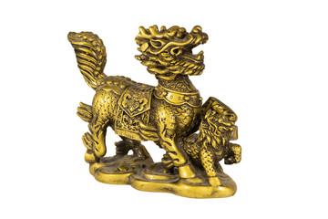 bronze figure of a dragon guarding a baby dragon.