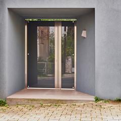 elegant modern house glass and metal entrance door, Athens Greece