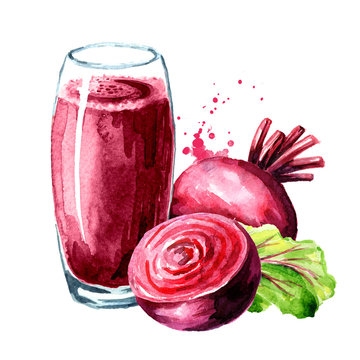 Healthy detox beet smoothie with beetroot. Watercolor hand drawn illustration, isolated on white background